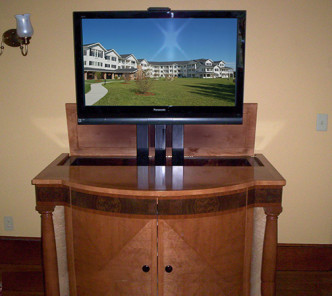 Classic Cabinet with Pop-Up Media - President's House Bay Path College, Construction: Arthur J Stevens